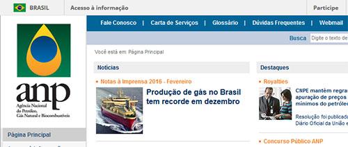 Site da Agência Nacional de Petróleo (ANP)