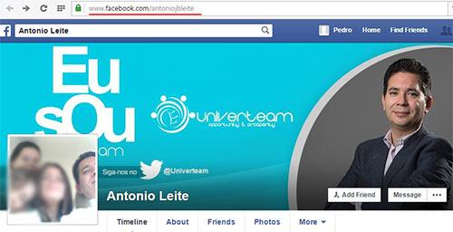 Perfil no Facebook de António Leite, dono da Univerteam Lda e Live4App Lda (fonte: tenhodividas.com))