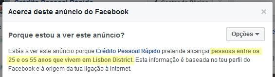 Exemplo dos anúncios da Burla online dos Empréstimos falsos no Facebook