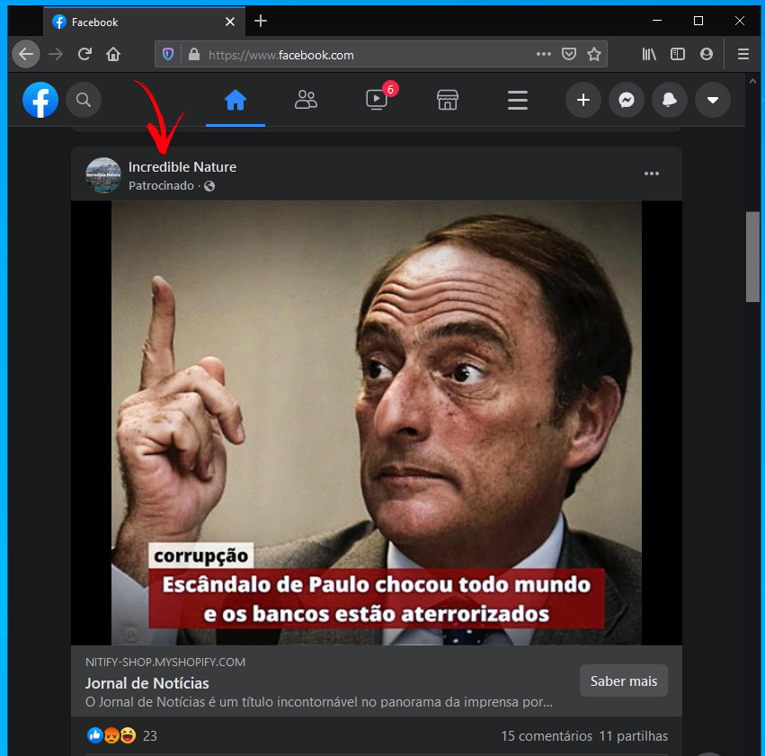 Anúncio Fake news Bitcoin Facebook do Paulo Portas