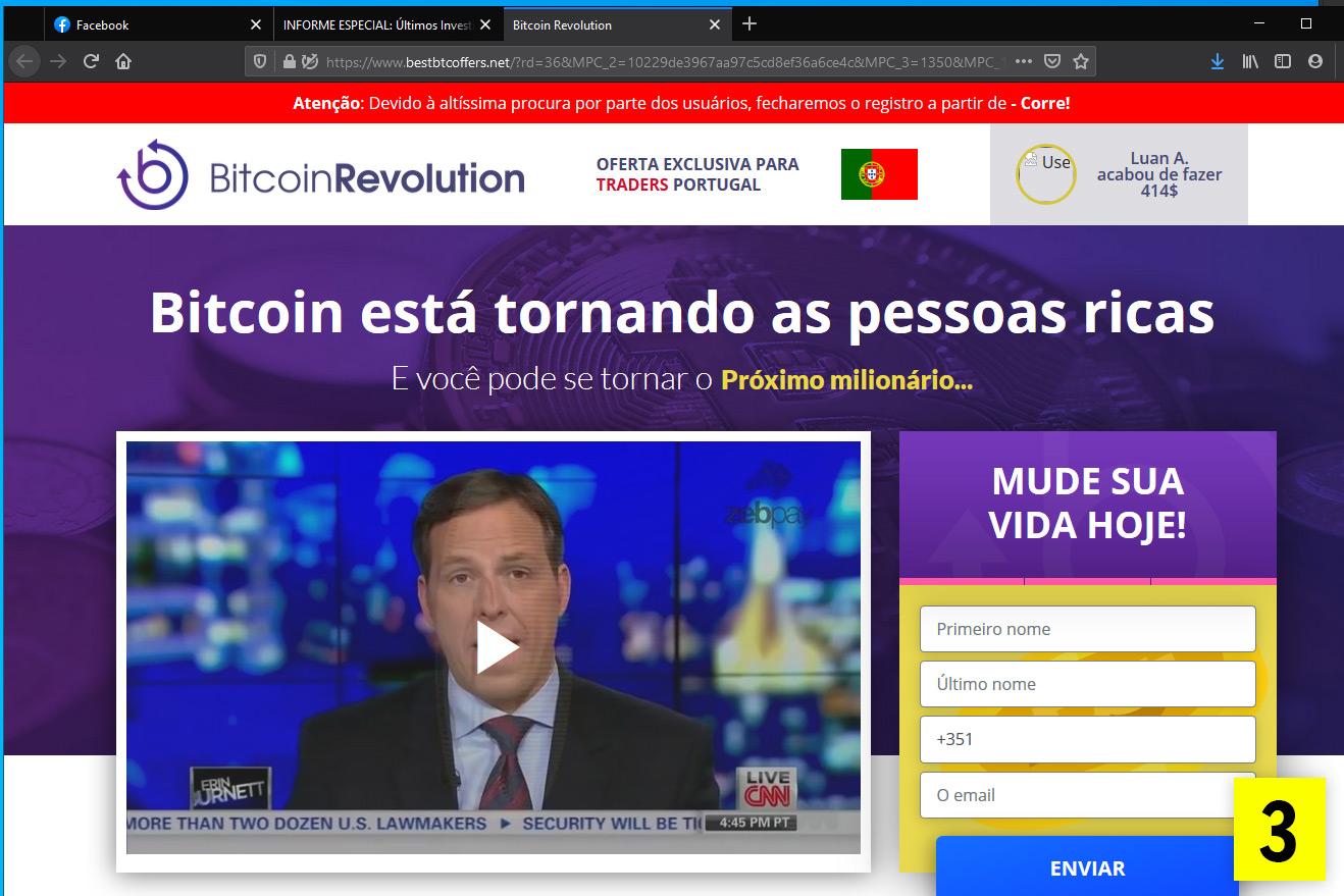 Página BitcoinRevolution, da fraude de fake news bitcoin. São conhecidos vários nomes do esquema.