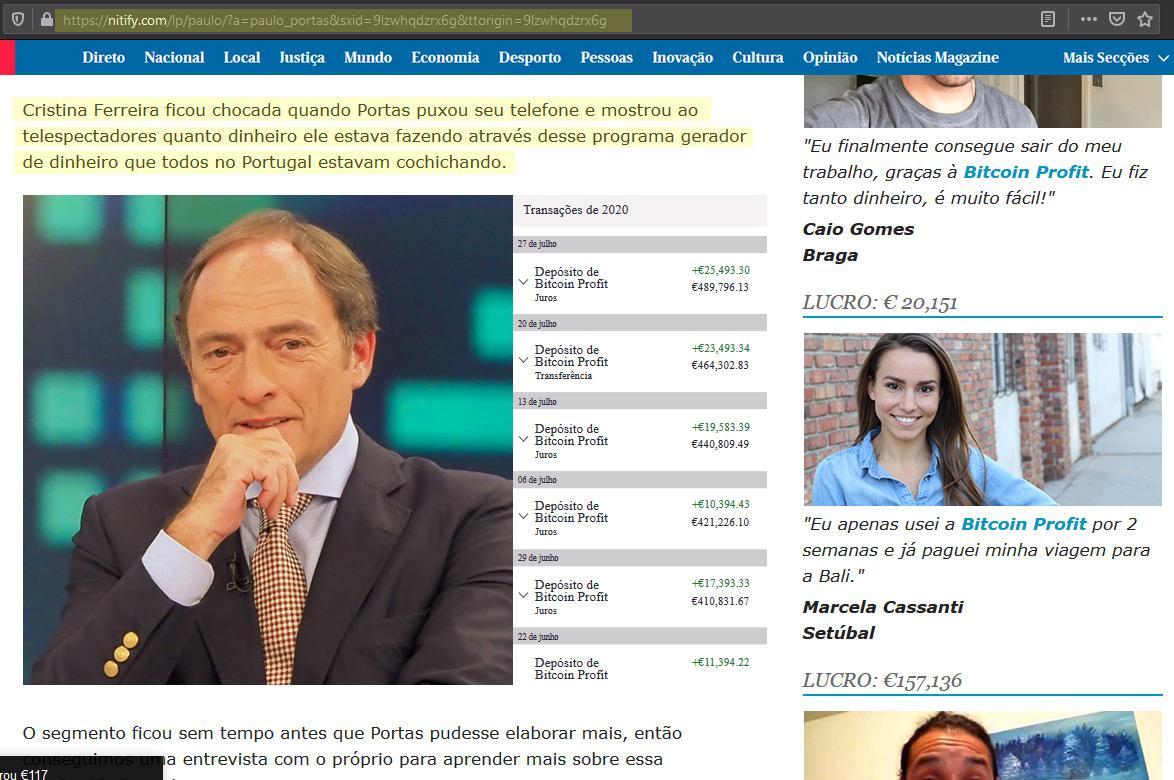 Página com mentiras sobre Paulo Portas, Cristina Ferreira e o Bitcoin.