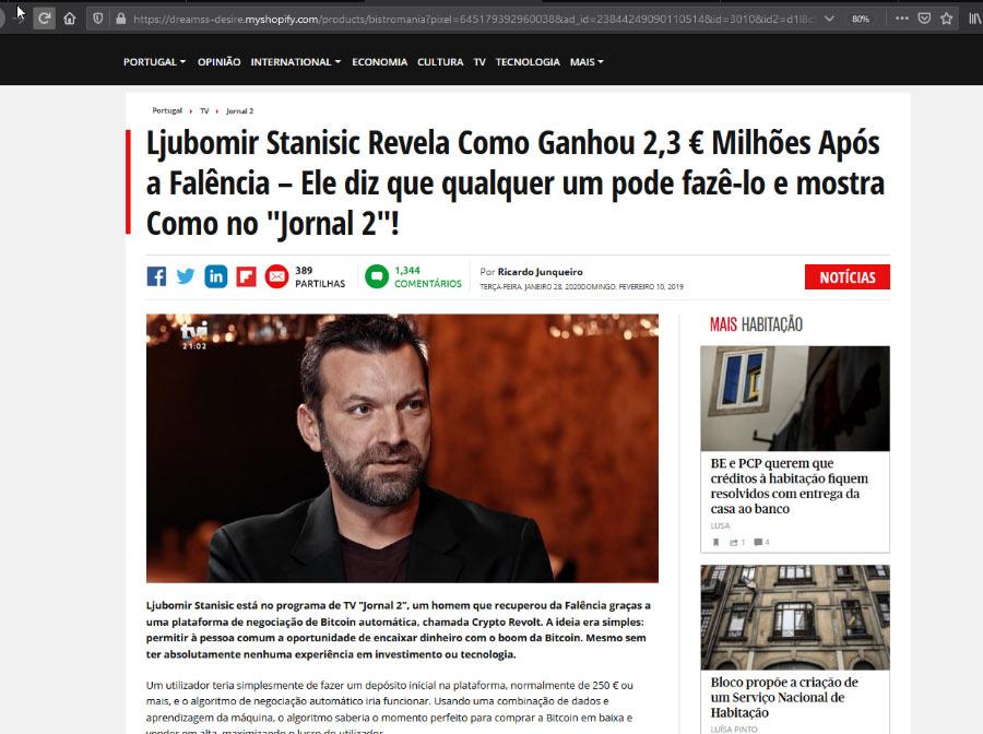 Anúncio Fake News Bitcoin com Ljubomir
