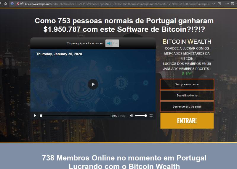 Anúncio fake news bitcoin