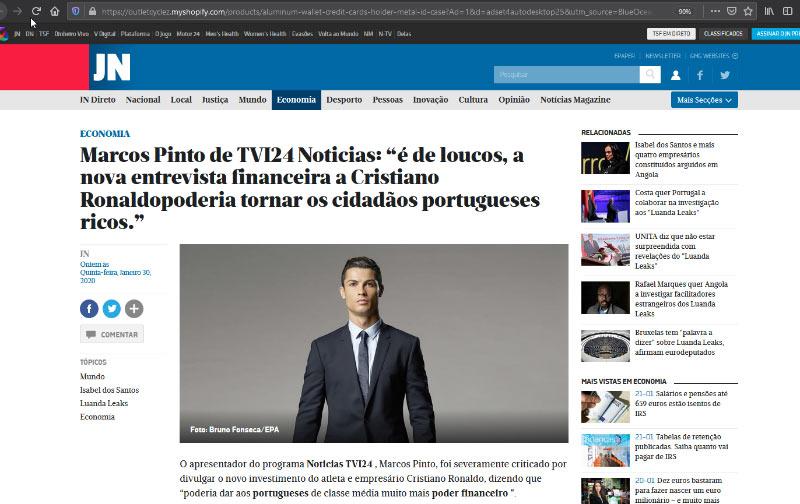 Anúncio Fake News Bitcoin com Cristiano Ronaldo