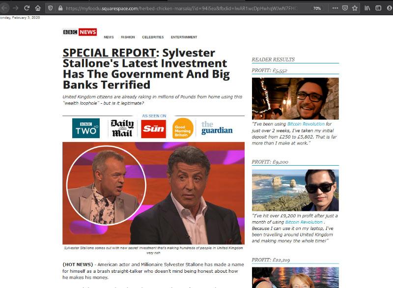 Anúncio Fake News Bitcoin com Sylvester Stallone
