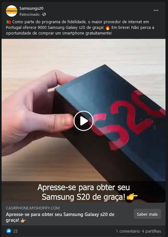 Anúncio falso do Samsung S20