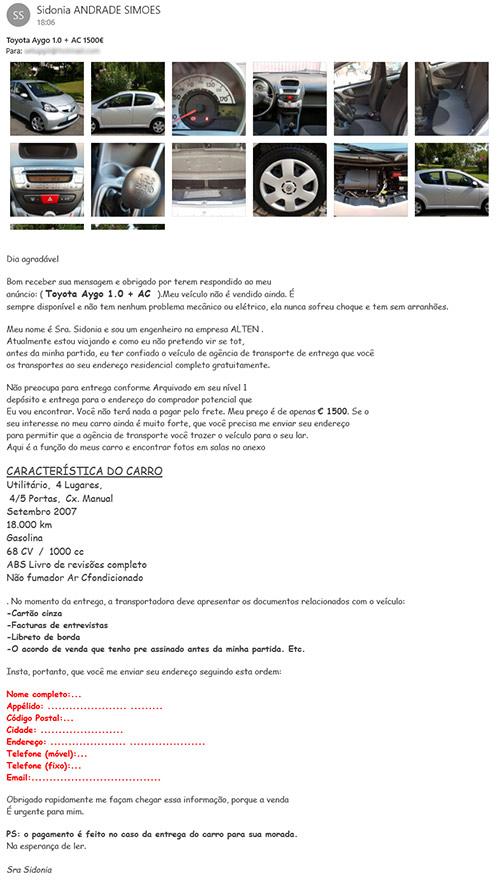 Resposta do burlão que publicou anúncio falso do Toyota Aygo