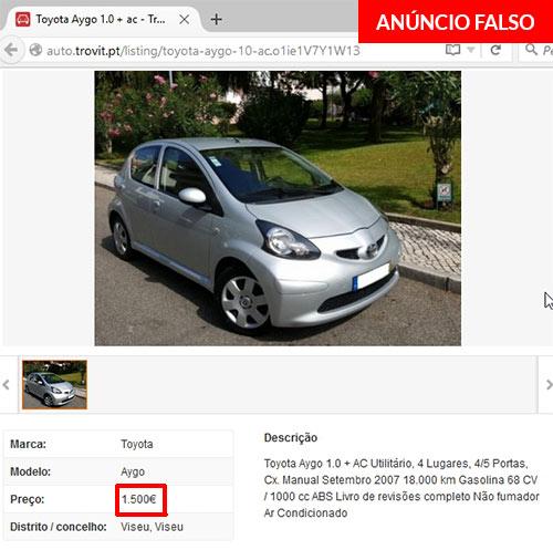 Anúncio falso de venda de Toyota Aygo no site trovit.pt