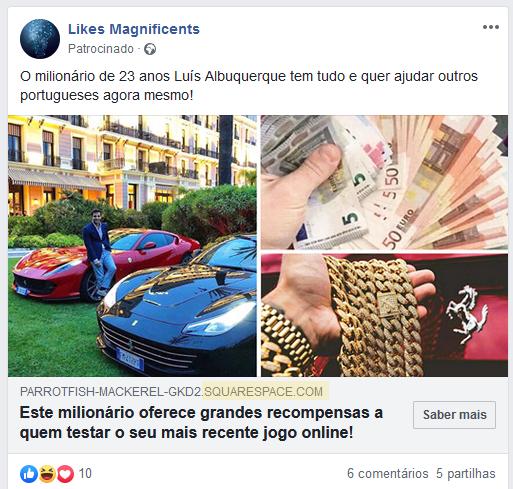 Anúncio da fraude Gratorama com o falso milionário Luís Albuquerque
