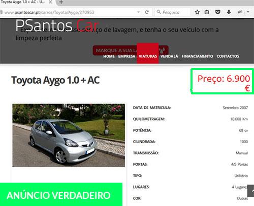 Anúncio verdadeiro de venda do Toyota Aygo. Burlões copiaram a foto e os dados deste anúncio.