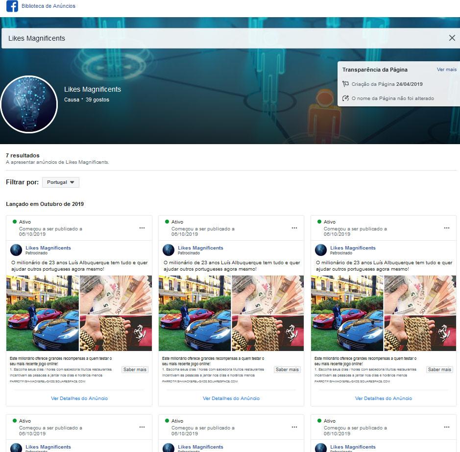 Anúncios publicados na página do facebook fantasma dos burlões da fraude Gratorama