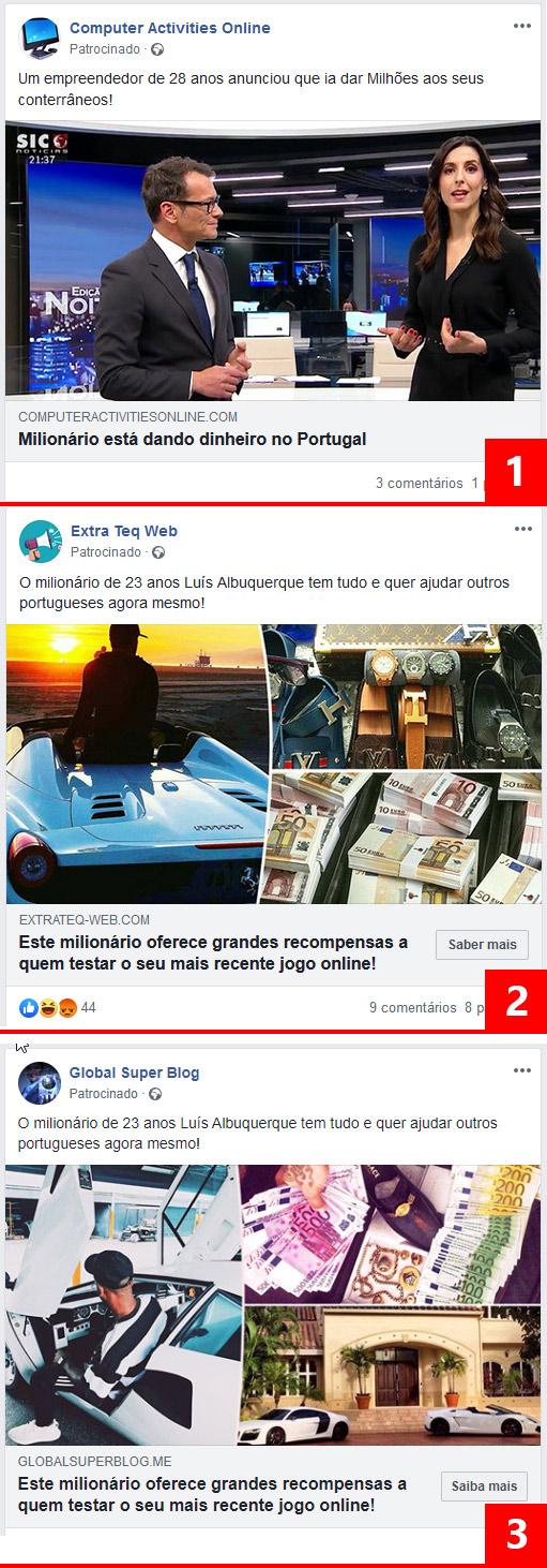 Anúncios do facebook falsos usadas para atrair vítimas para o Gratorama