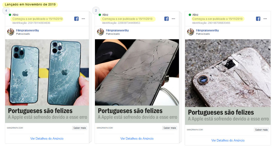Anúncio facebook fraude iPhone