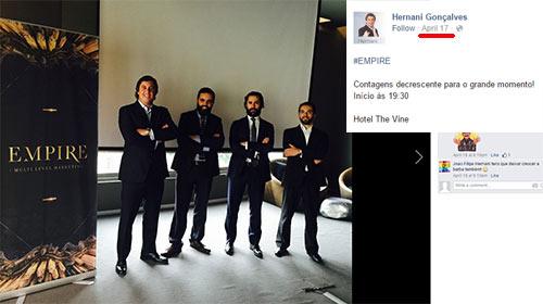 Hernani e os seus amigos numa das muitas apresentações offline.
