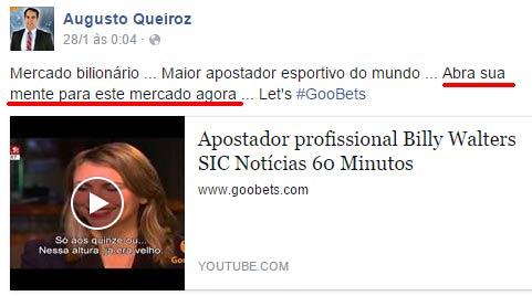 Diretor de Marketing Augusto Queiroz tenta aliciar novas vítimas ao publicar vídeo de Billy Walters