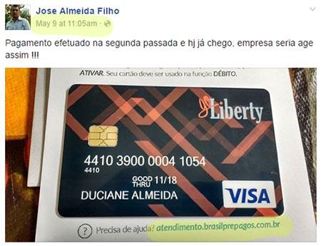 Cartão Pré-Pago usado pela fraude Go-Liberty (fonte: facebook.com)