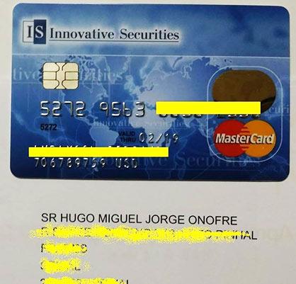 Cartão Pré-Pago de um piramideiro de Portugal. (fonte: facebook.com)