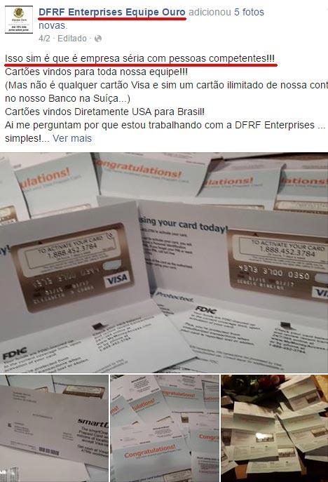 Afiliado desesperado mostra vários cartões VISA Pré-pagos da Smartone com o logo da DFRF