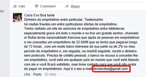 Comentário publicado no Facebook por um dos muitos perfis falsos a oferecer empréstimos online baratos
