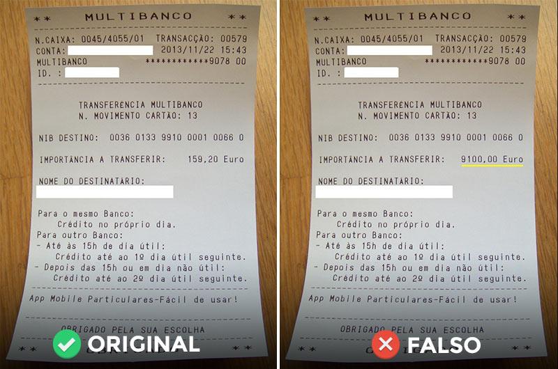 Comprovativo de transferência original e falso