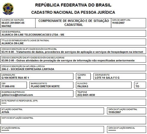 Dados da consulta do CNPJ da Aliança Online