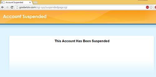 Conta de alojamento do site goobetstv.com suspensa