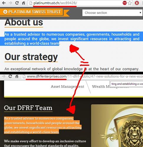 Conteúdo do site DFRF é igual do site do Banco fantasma Platinum Swiss Trust