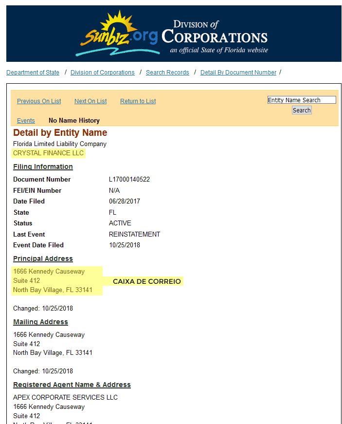 Dados da empresa fachada CRYSTAL FINANCE LLC usada pela fraude OptionsKnight