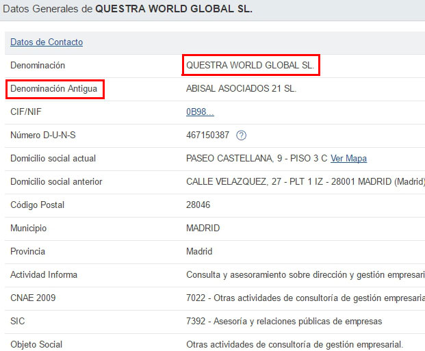 Dados da empresa fantasma Questra World Global SL.