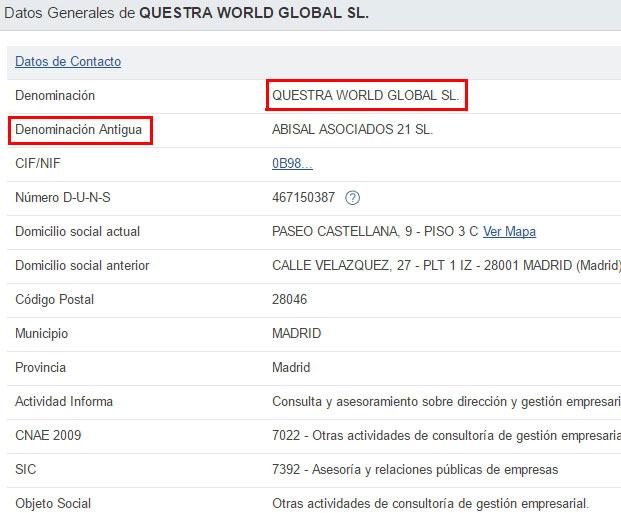 Dados da empresa fantasma Questra World Global SL.
