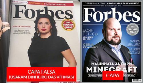 Burlões OneCoin gastaram dinheiro das vítimas para aparecer na FORBES da Bulgária, com uma capa de publicidade e uma entrevista manipulada.