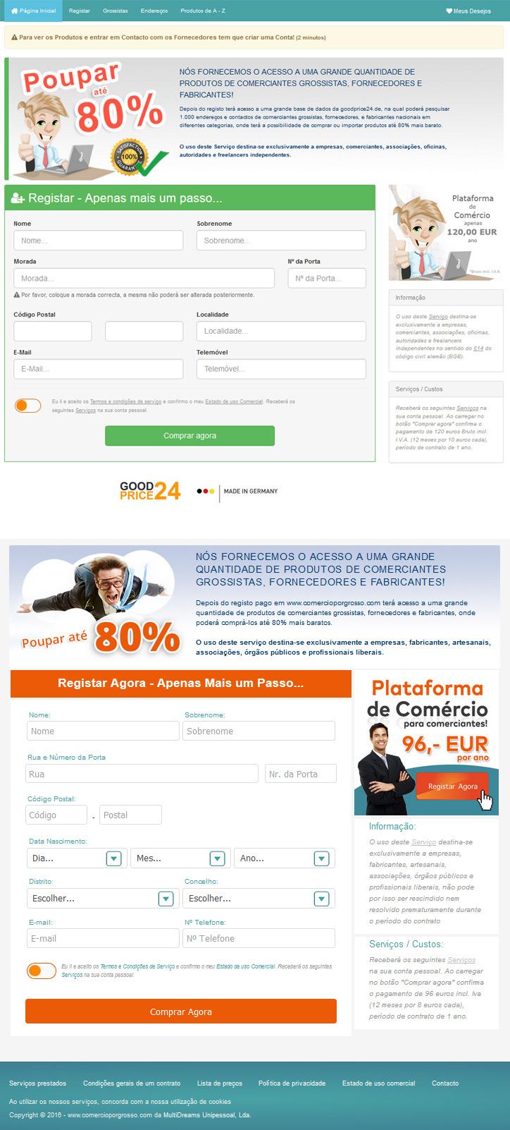 Tenta encontrar as diferenças entre o site comercioporgrosso.com e goodprice24.de