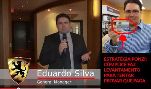Eduardo Silva, outro cúmplice de Daniel Filho no esquema. Ficou conhecido por apresentar várias provas de pagamento usando o cartão DFRF que só durou alguns dias. (Fonte: youtube.com)