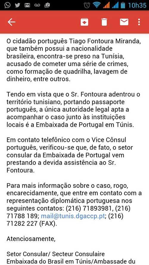 resposta do Setor Consultar da Embaixada do Brasil em Túnis acerca Tiago Fontoura Miranda