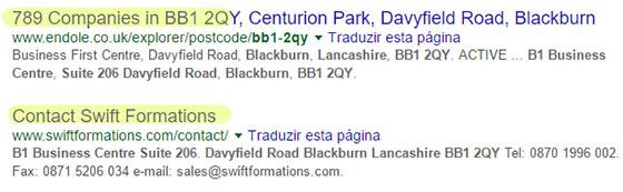 Pesquisa revela que morada da empresa fantasma da Go Liberty na Inglaterra é uma caixa de correio com 789 empresas e foi criada pela empresa Swift Formations. (fonte: Google)