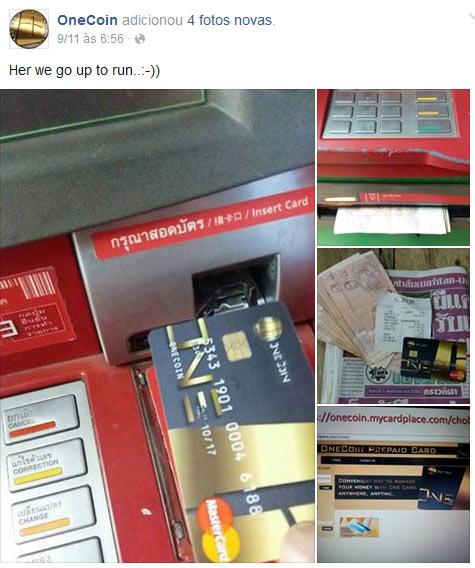 OneCoin usa estratégia de mostrar um cartão pré-pago para aliciar novas vítimas. Ninguém consegue retirar o dinheiro. Só os cúmplices!