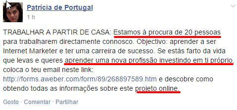 """Membro """"Patrícia de Portugal"""" apresenta o esquema como """"Trabalhar a Partir de Casa"""". Quer enganar 20 pessoas, para fazerem o mesmo que ela."""