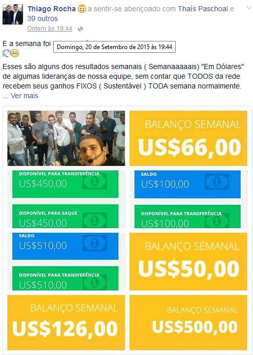 Imagens de dinheiro virtual do backoffice usadas para recrutar novas vítimas.