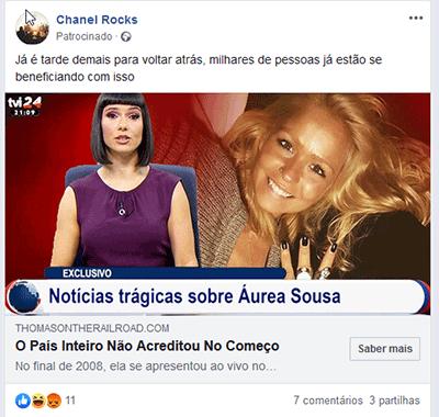 Anúncio do Facebook com fake news do grupo de burlões das fake news + famosos + bitcoin