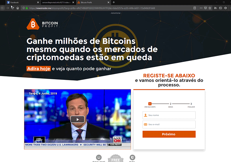 Página de captura de dados do esquema de fake news