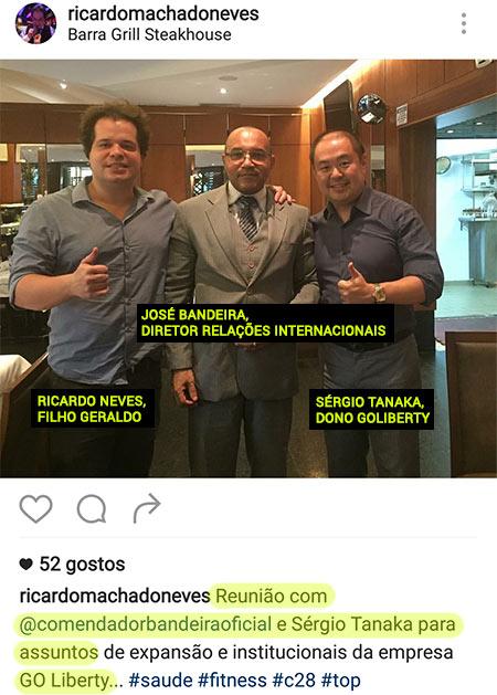 Sérgio Tanaka, José Bandeira e Ricardo Neves. O dono real da Go-Liberty e os testas-de-ferro. (fonte: instagram)