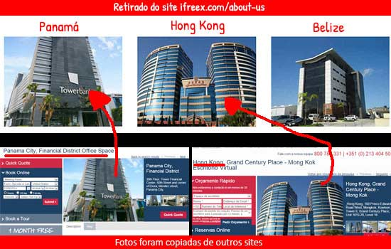 Fotos dos escritórios iFreex foram retiradas de outros sites. Este golpe não tem sede em nenhum lado.