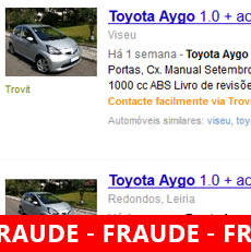 Burla Online falsos anúncios automóveis usados