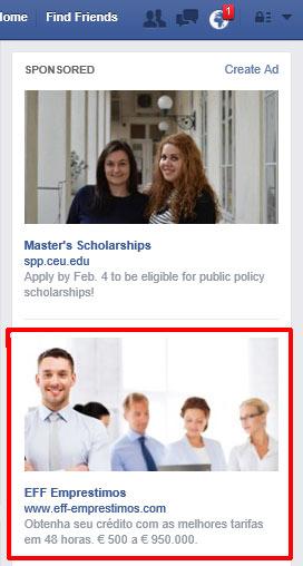Anúncio no Facebook de um site usado na fraude dos empréstimos