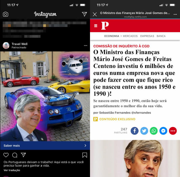 Fraude das Fake News Bitcoin no Instagram