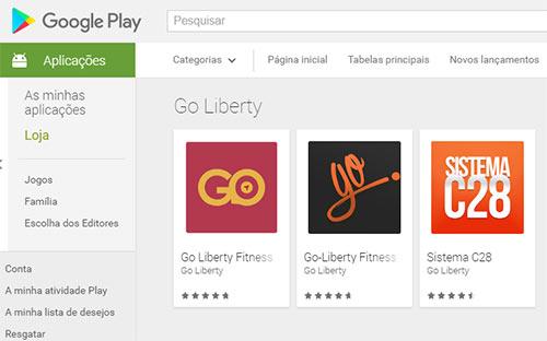 Apps usadas para disfarçar esquema em pirâmide Go Liberty. (fonte: Google Play)