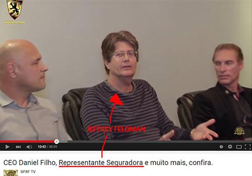 Jeffrey Feldman, apresentado como executivo principal da ACCEDIUM no vídeo https://www.youtube.com/watch?v=wZAB8d3y2Xk, publicado no canal DFRF TV no YouTube. Cúmplice de Daniel Filho no golpe DFRF. (Fonte: youtube.com)