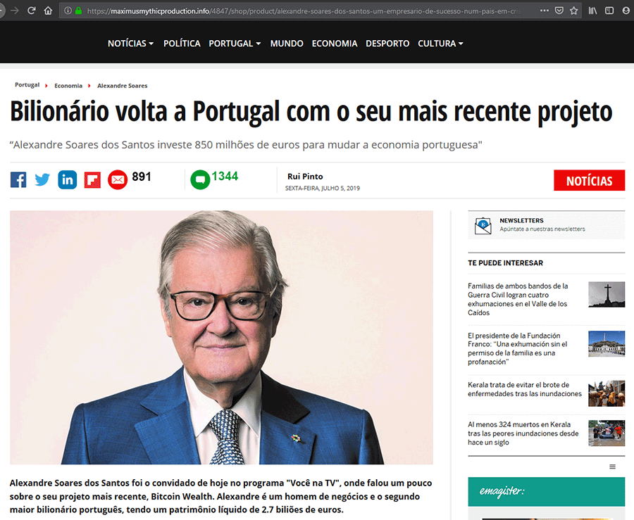 Landing page com Fake News