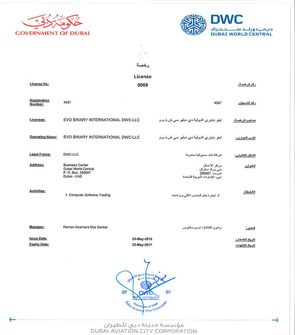 Licença da empresa fantasma no Dubai
